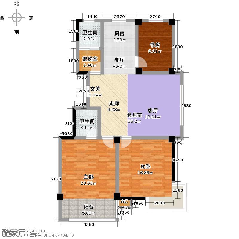 一品莲花城3室2厅2卫1厨132.00㎡户型