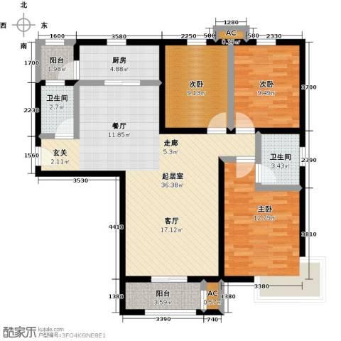 怡水花园三期3室0厅2卫1厨125.00㎡户型图