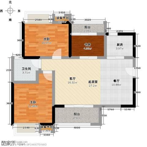万科柏悦湾3室0厅1卫1厨103.00㎡户型图