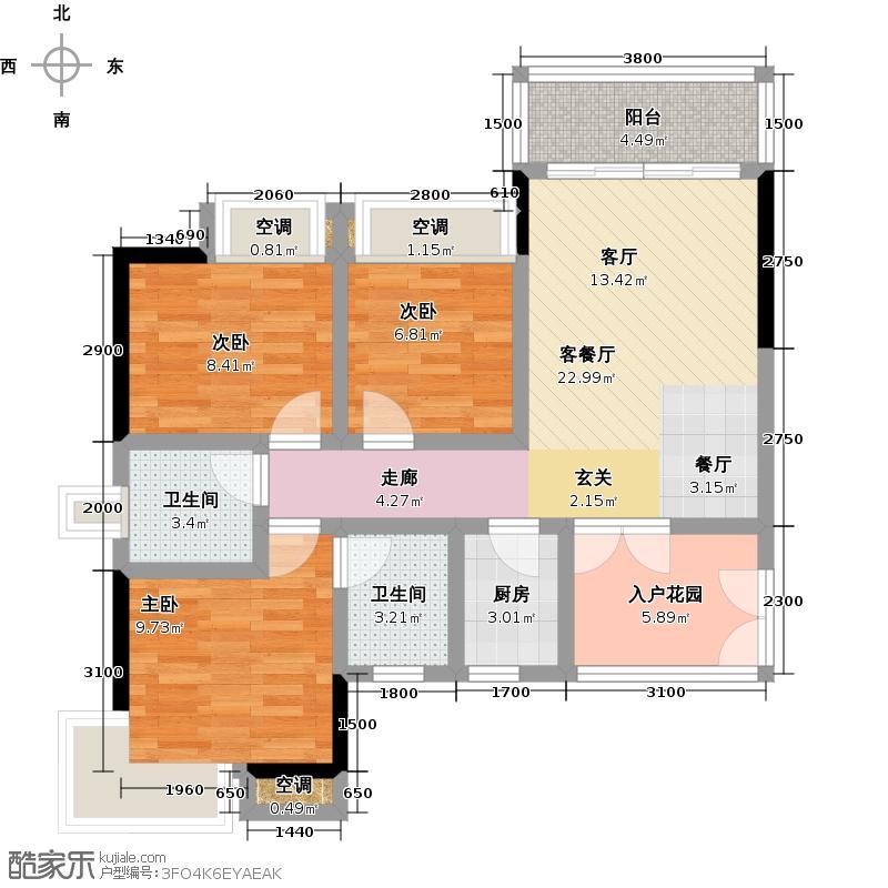 永盛1号户型3室1厅2卫1厨