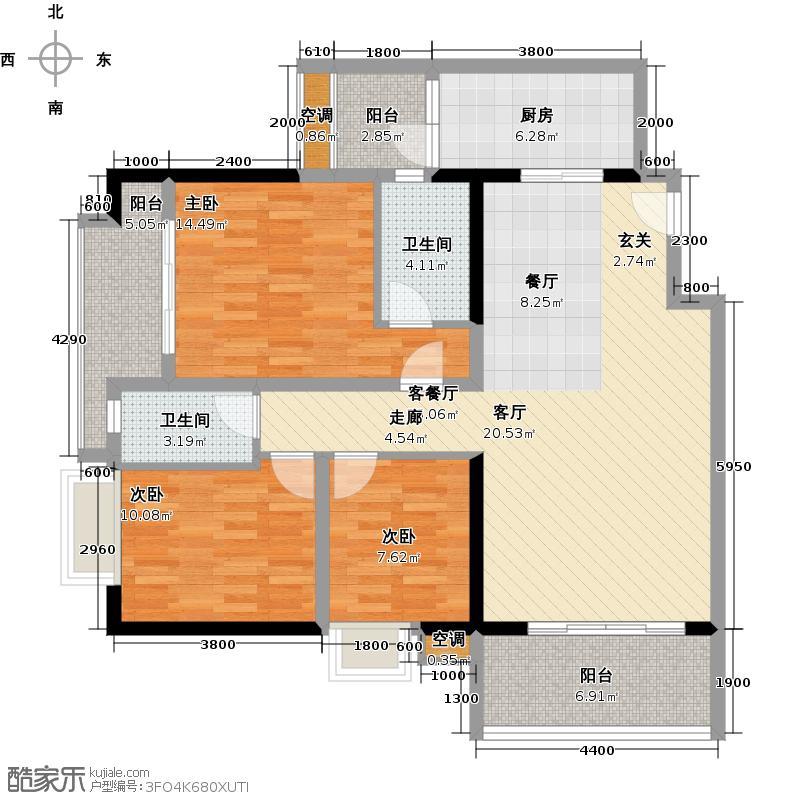 第一国际三期户型3室1厅2卫1厨