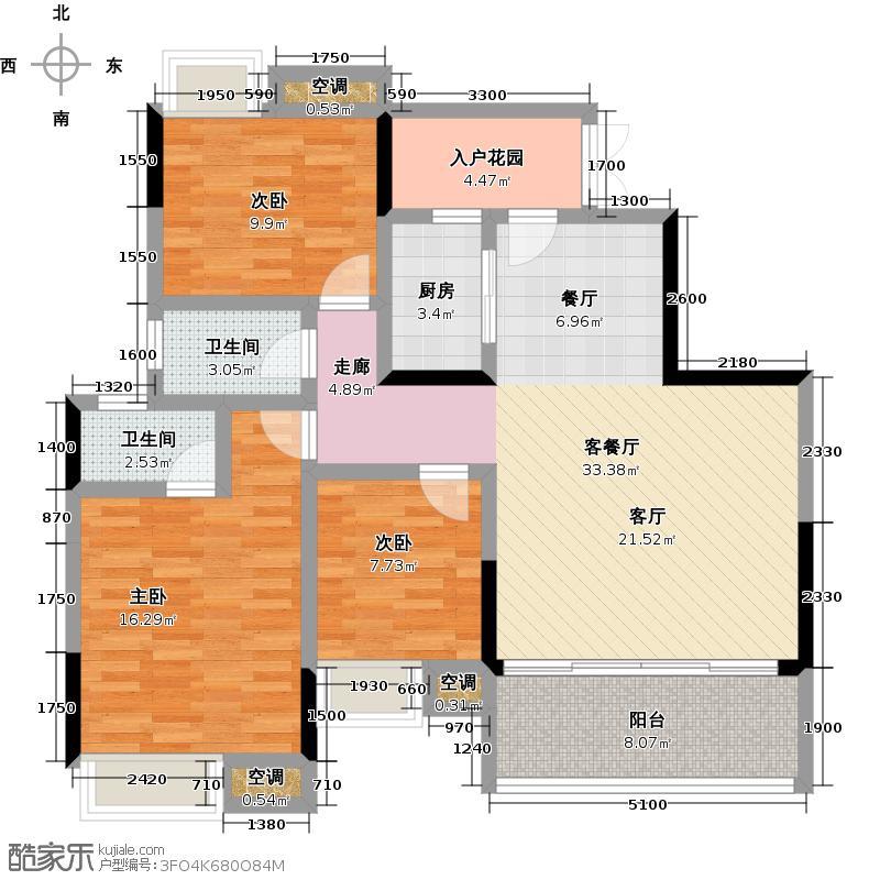 富盈盈翠曦园户型3室1厅2卫1厨