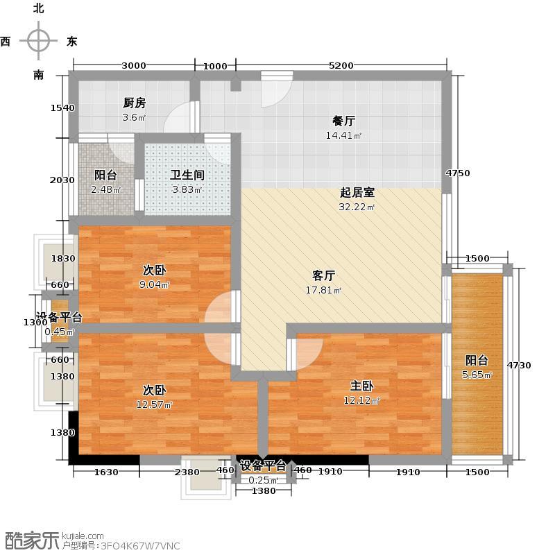 西湾阳光南座19-32层E户型3室1卫1厨