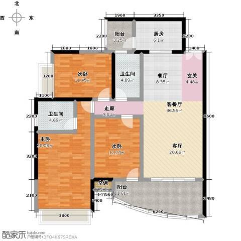 天骄峰景3室1厅2卫1厨160.00㎡户型图