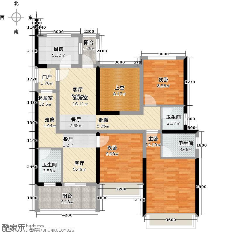 大东城4号楼AB单元C1-C2创意前户型3室3卫1厨