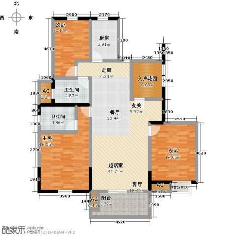 力达紫御府3室0厅2卫1厨125.00㎡户型图