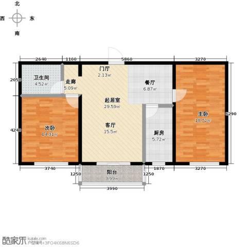 碧水蓝山2室0厅1卫1厨86.00㎡户型图