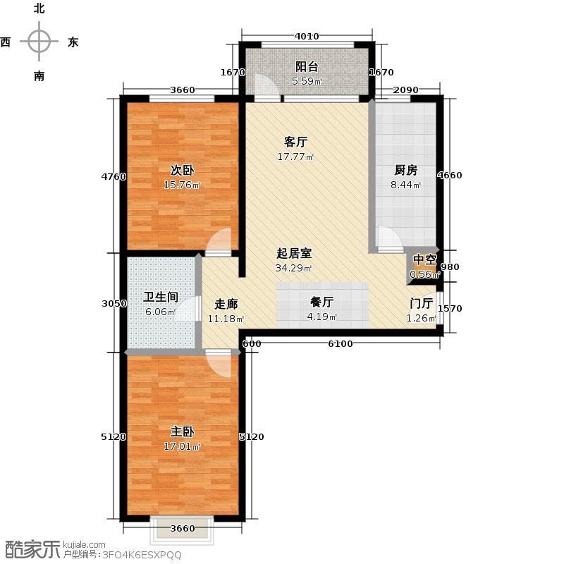香榭澜湾98.87㎡G户型2室2厅1卫