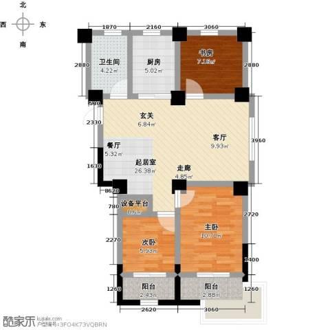 一品莲花城3室0厅1卫1厨101.00㎡户型图
