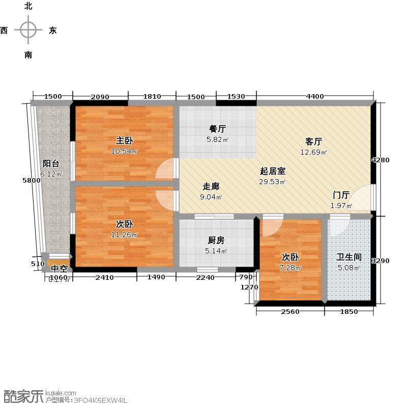 西华苑二期F栋二至四层03单元户型3室1卫1厨