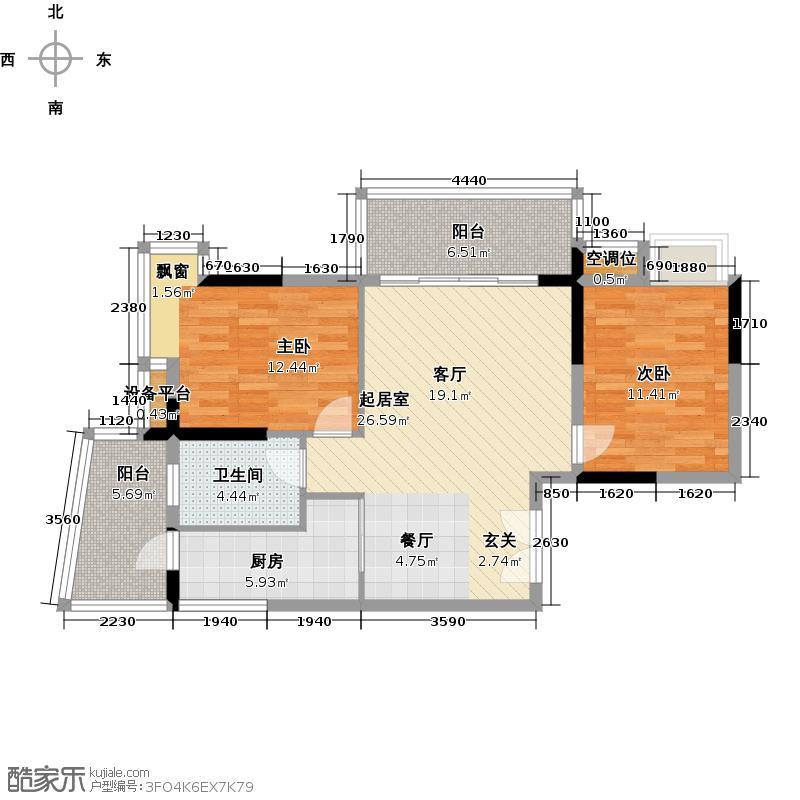 罗马家园东二区D6栋02单位户型2室1卫1厨