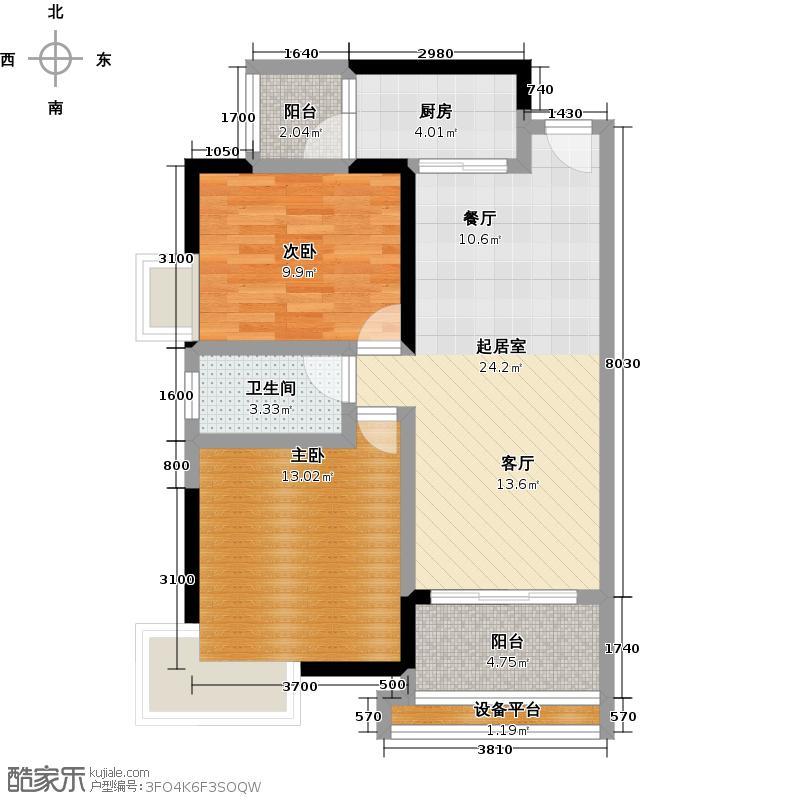 尚上名筑A6栋02单位户型2室1卫1厨