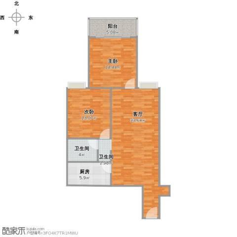 银河广场2室1厅1卫1厨102.00㎡户型图