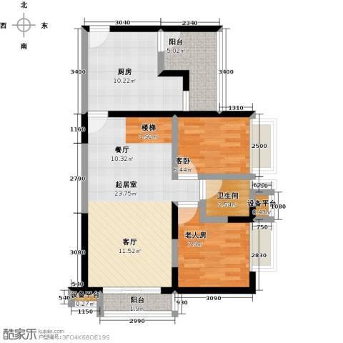 花地河湾2室0厅1卫1厨87.00㎡户型图