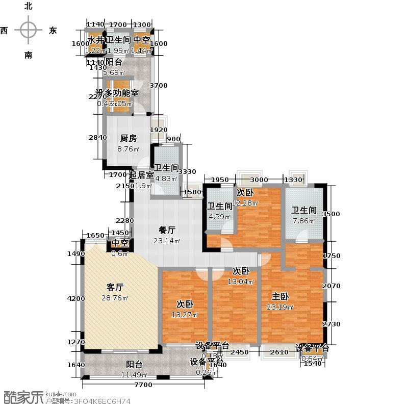 富力唐宁花园A1栋标准层01东南朝向户型4室4卫1厨