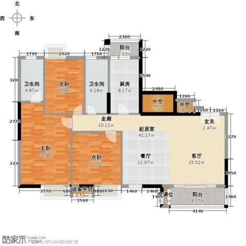 高雅湾3室0厅2卫1厨130.00㎡户型图