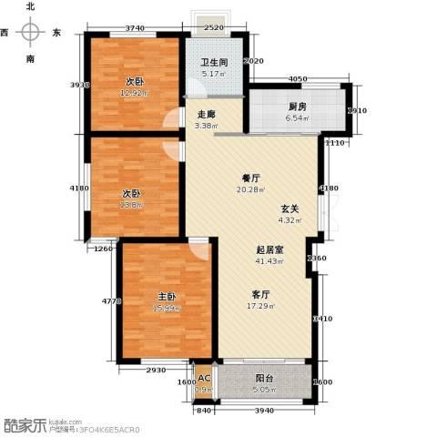 鸿运家园3室0厅1卫1厨115.00㎡户型图