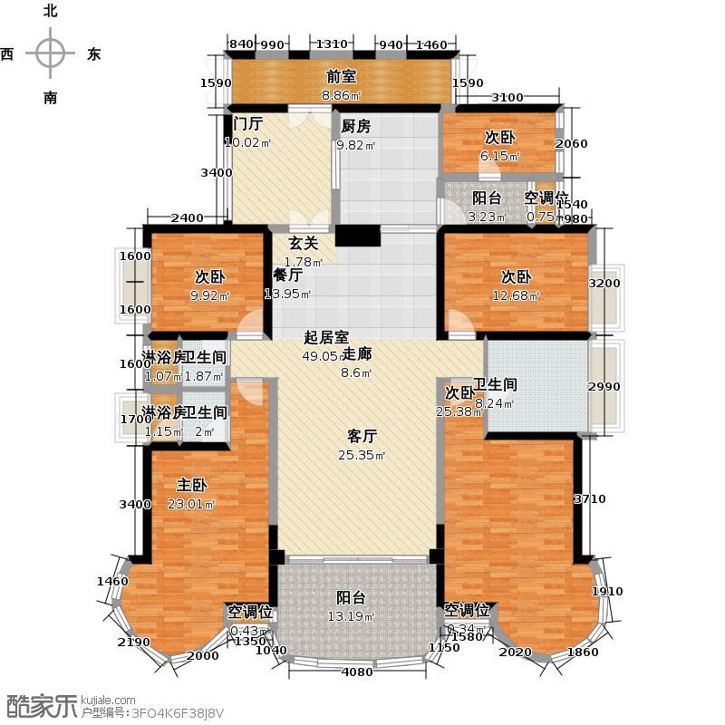 罗马家园�禧E3、E6栋标准层01户型5室3卫1厨