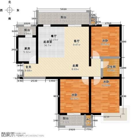 怡水花园三期3室0厅1卫1厨137.00㎡户型图