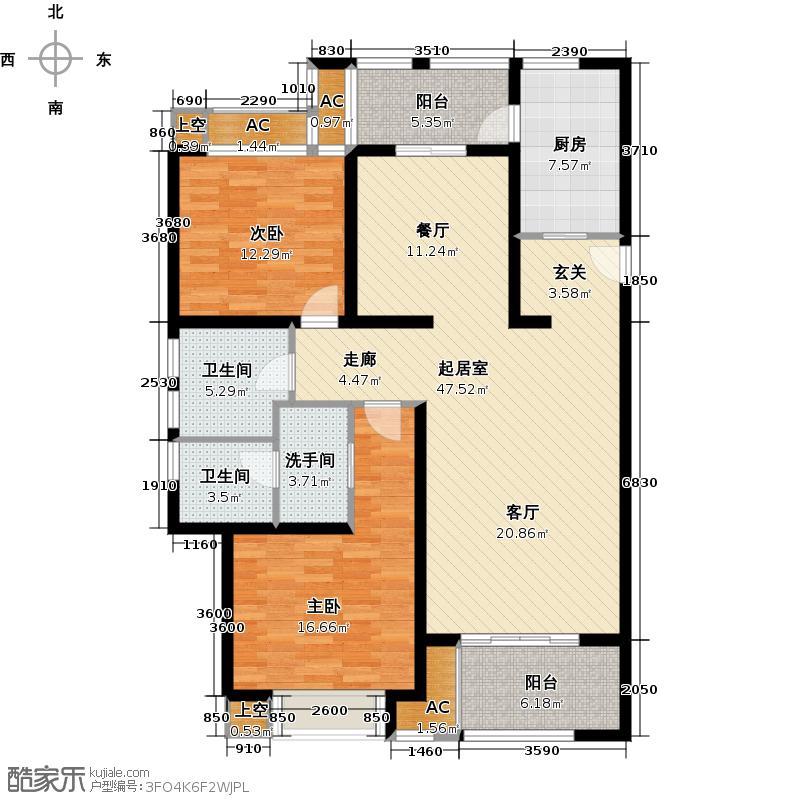 翠湖湾128.00㎡B户型128平米户型2室2厅1卫QQ