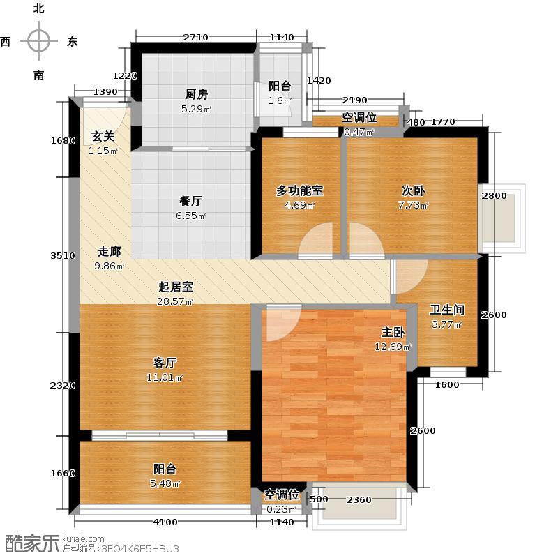 罗马家园拜庭ⅡA3栋06户型2室1卫1厨