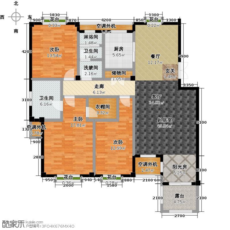 金石明珠147.00㎡R2户型 3室2厅2卫 147㎡户型