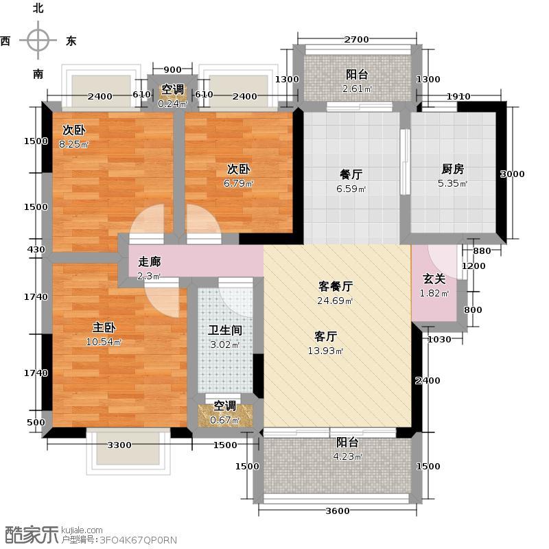 富盈盈翠曦园A18825户型3室1厅1卫1厨