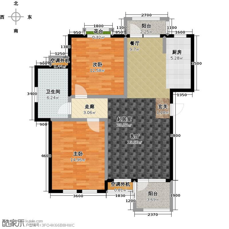 金石明珠99.00㎡两室两厅一卫户型
