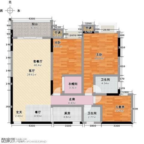 湖景壹号庄园3室1厅2卫1厨151.00㎡户型图