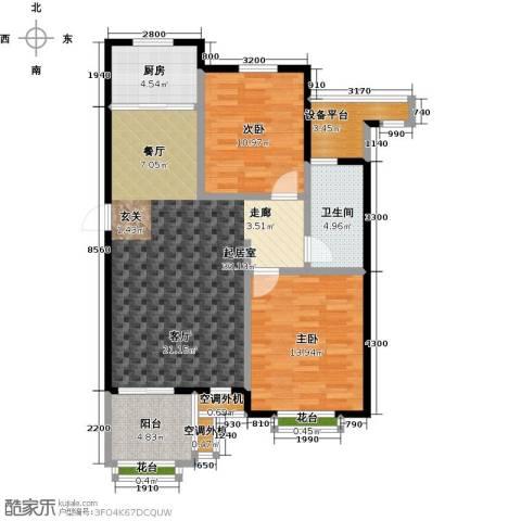 金石明珠2室0厅1卫1厨92.00㎡户型图