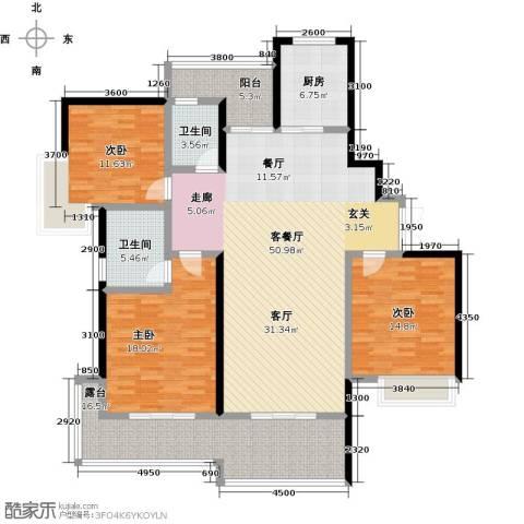 湖景壹号庄园3室1厅2卫1厨159.00㎡户型图