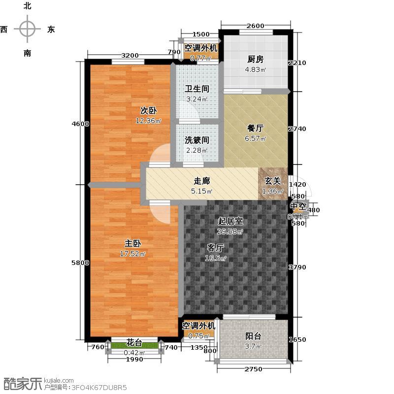 金石明珠93.00㎡F户型 2室2厅1卫 93㎡户型