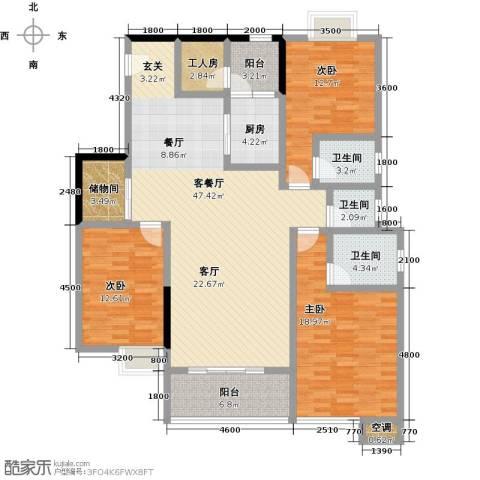 湖景壹号庄园3室1厅3卫1厨178.00㎡户型图