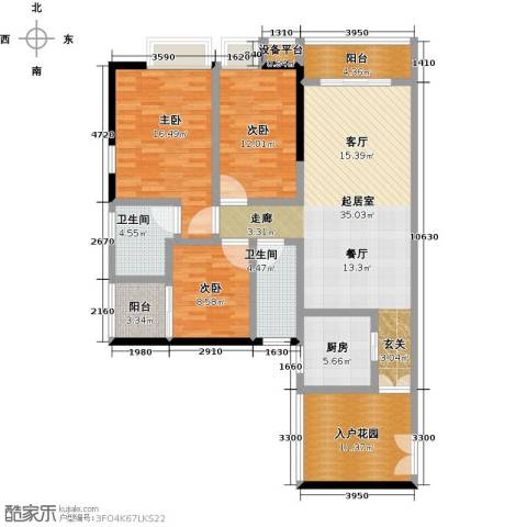 美荔尚筑3室0厅2卫1厨124.00㎡户型图