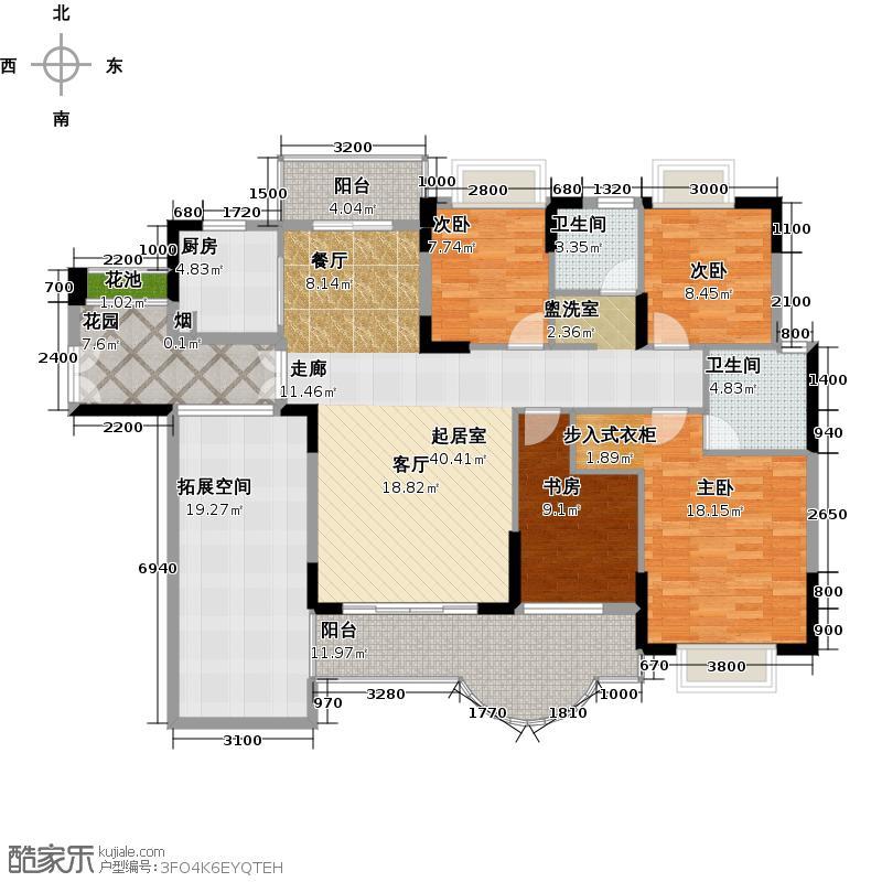 德洲丹缇轩1栋温莎阁标准层D3户型4室2卫1厨