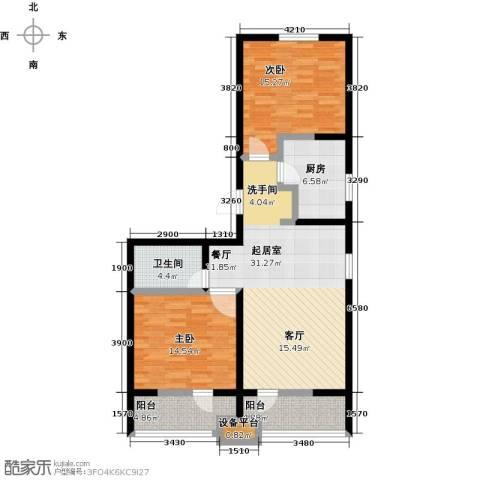 龙鼎天悦2室0厅1卫1厨95.00㎡户型图