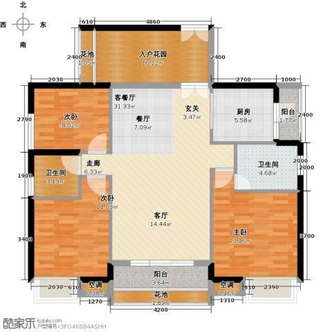 中熙弥珍道3室1厅2卫1厨121.00㎡户型图