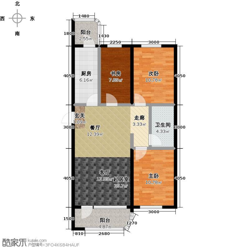 文景清华园96.66㎡三室两厅一卫户型3室2厅1卫