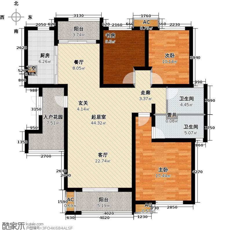 首开国风华府134.00㎡一期F2户型3室2厅2卫QQ