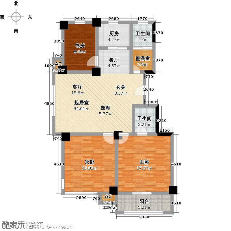 一品莲花城3室2厅2卫1厨131.00㎡户型-T