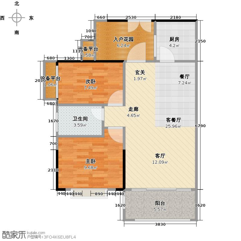 东港花园B区1栋01户型2室1厅1卫1厨