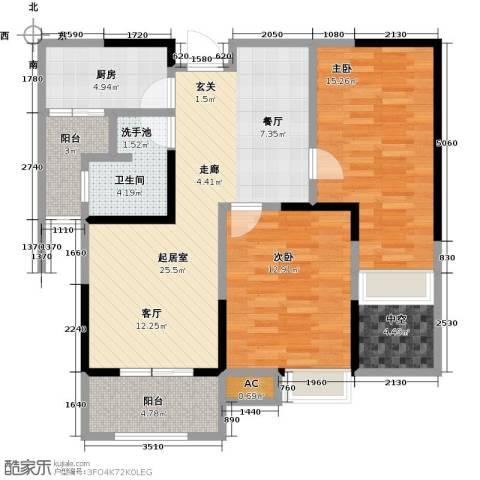 绿地中央广场2室0厅1卫1厨87.00㎡户型图