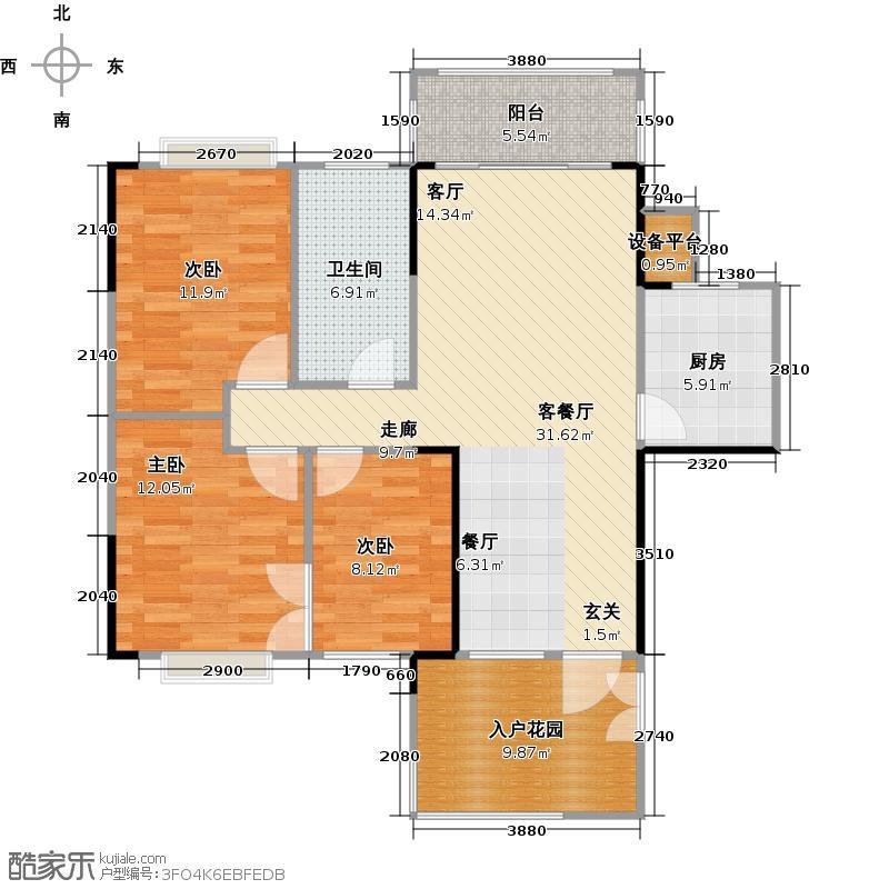 东港花园B区4栋02户型3室1厅1卫1厨