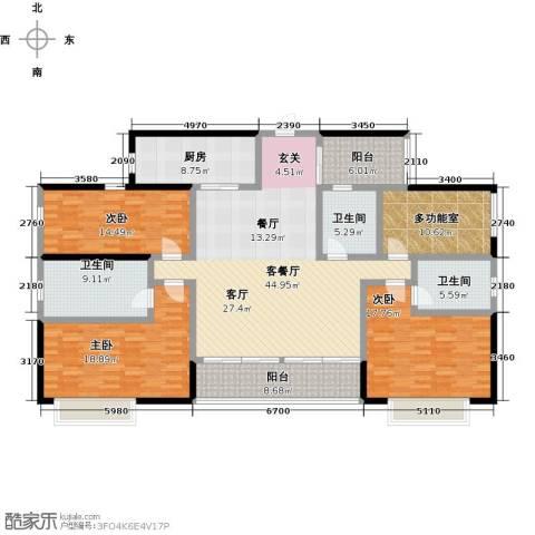 万科公园里3室1厅3卫1厨172.00㎡户型图