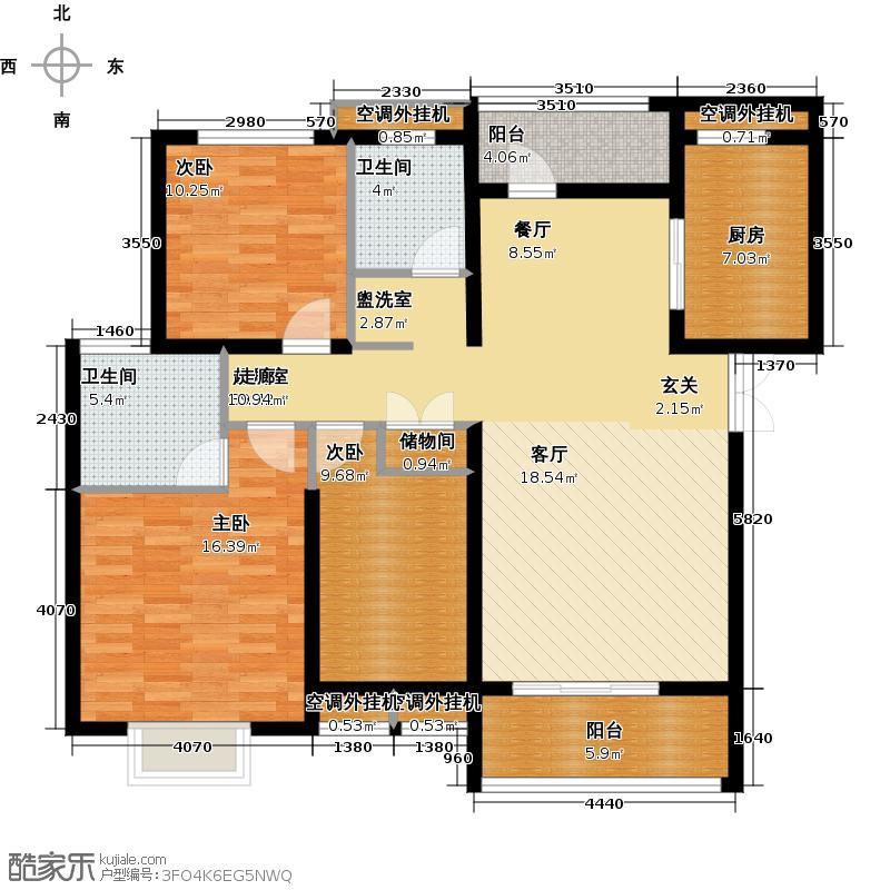 五洲国际广场122.67㎡E户型3室2厅2卫