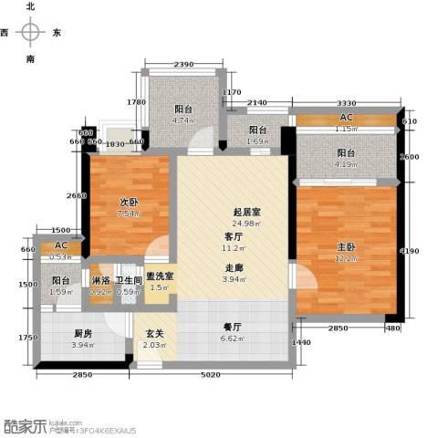 龙华花半里2室0厅1卫1厨97.00㎡户型图