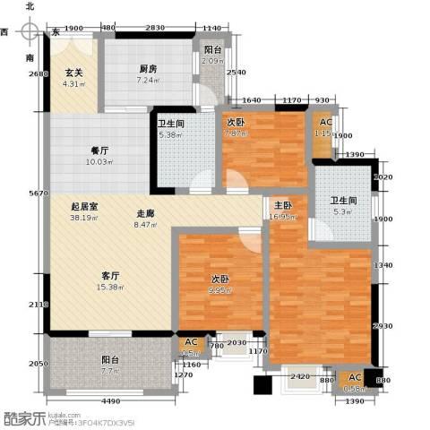 大信君汇湾3室0厅2卫1厨120.00㎡户型图