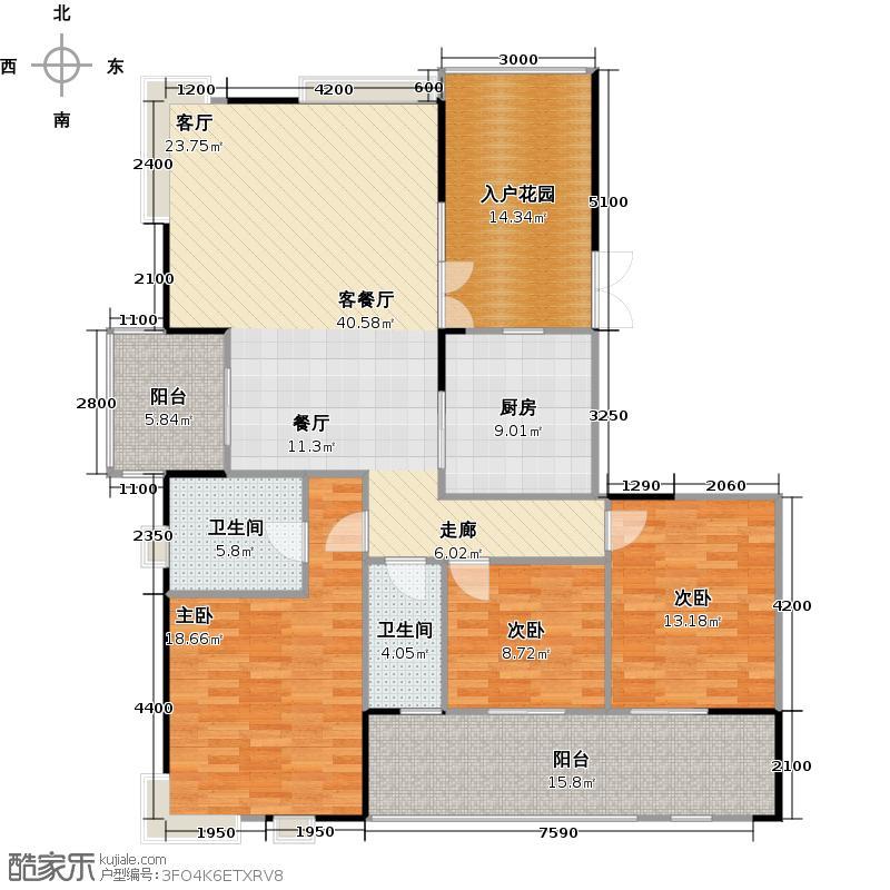 兰江山第1号楼B单元D2型户型3室1厅2卫1厨