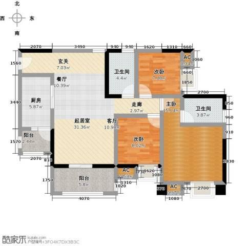 大信君汇湾3室0厅2卫1厨116.00㎡户型图