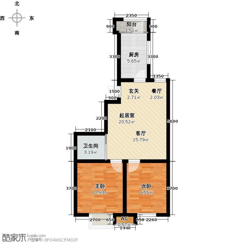 永盛水调歌城二室二厅一卫78。65平方米户型QQ